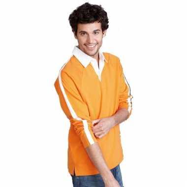 Heren t-shirt oranje met lange mouw