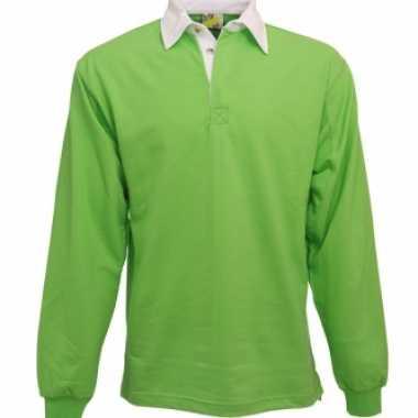 Kleding Lime rugbyshirt met witte kraag