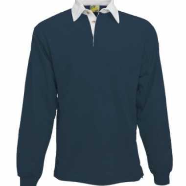 Kleding Navy rugbyshirt met witte kraag