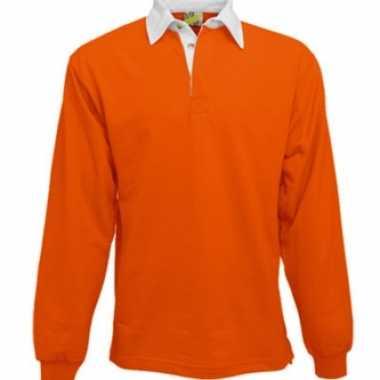 Kleding Oranje rugbyshirt met witte kraag