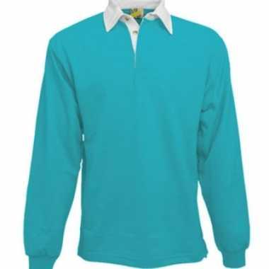 Kleding Turquoise rugbyshirt met witte kraag