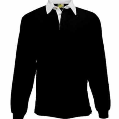 Kleding Zwart rugbyshirt met witte kraag