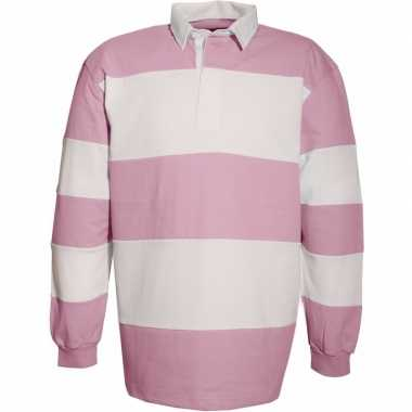 Roze/witte rugbyshirts