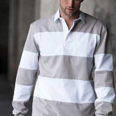Rugby shirts grijs en wit gestreept