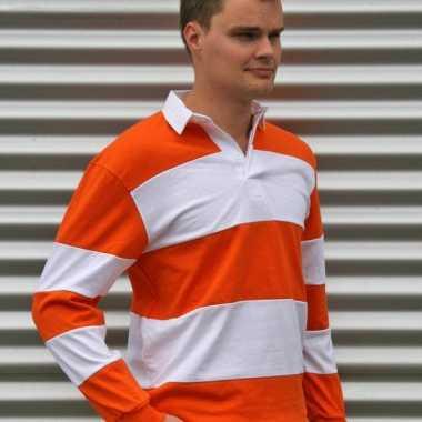 Rugbyshirt oranje/wit heren