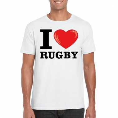 Wit i love rugby t-shirt heren