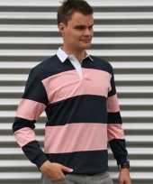 Gekleurde rugbyshirts navy roze