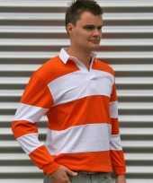 Rugbyshirt oranje wit heren